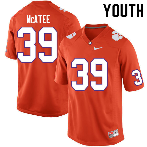 Youth #39 Bubba McAtee Clemson Tigers College Football Jerseys Sale-Orange