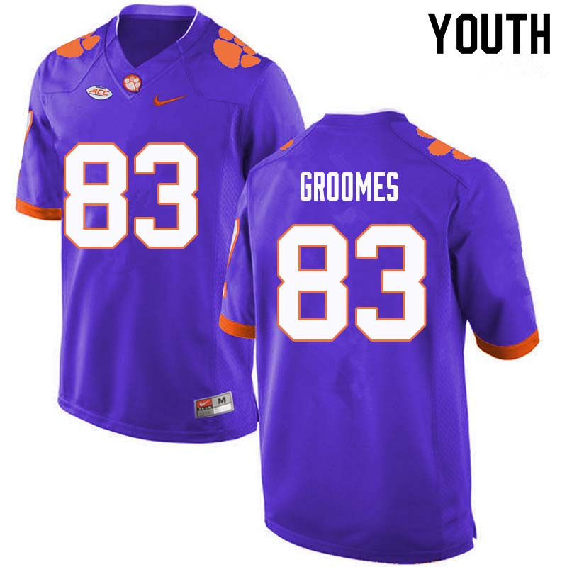 Youth #83 Carter Groomes Clemson Tigers College Football Jerseys Sale-Purple