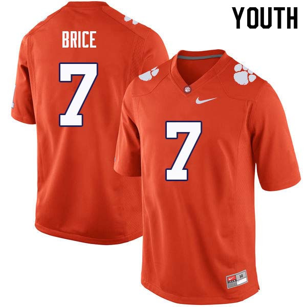 Youth #7 Chase Brice Clemson Tigers College Football Jerseys Sale-Orange