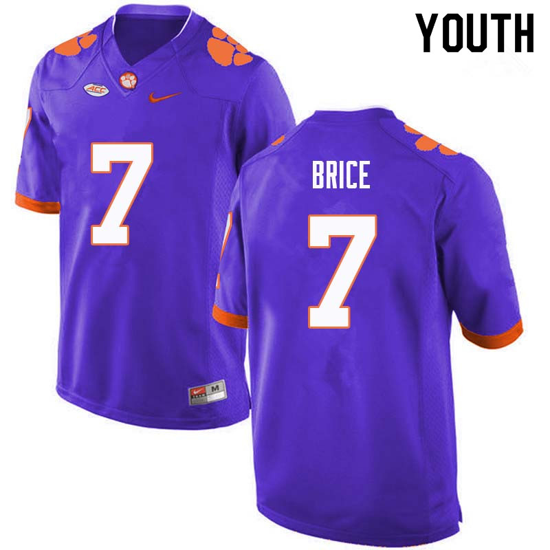 Youth #7 Chase Brice Clemson Tigers College Football Jerseys Sale-Purple