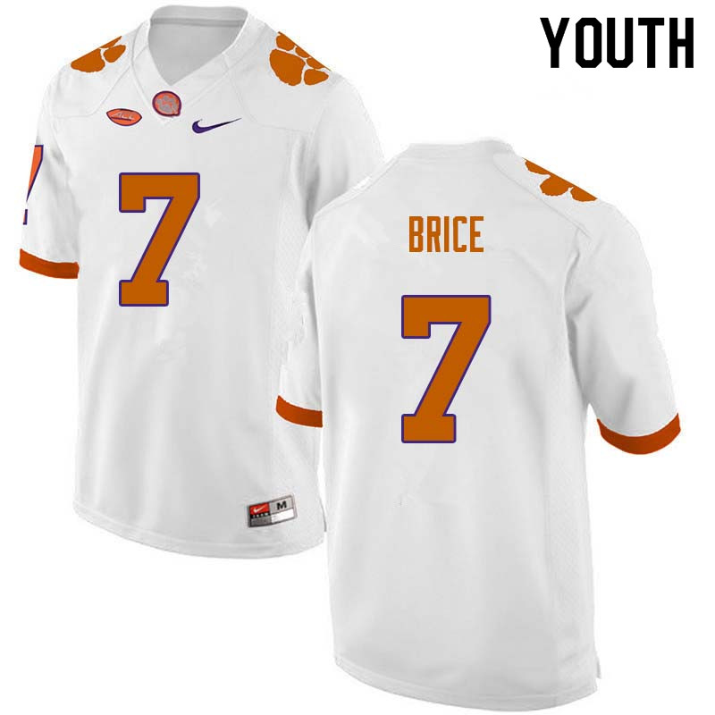 Youth #7 Chase Brice Clemson Tigers College Football Jerseys Sale-White