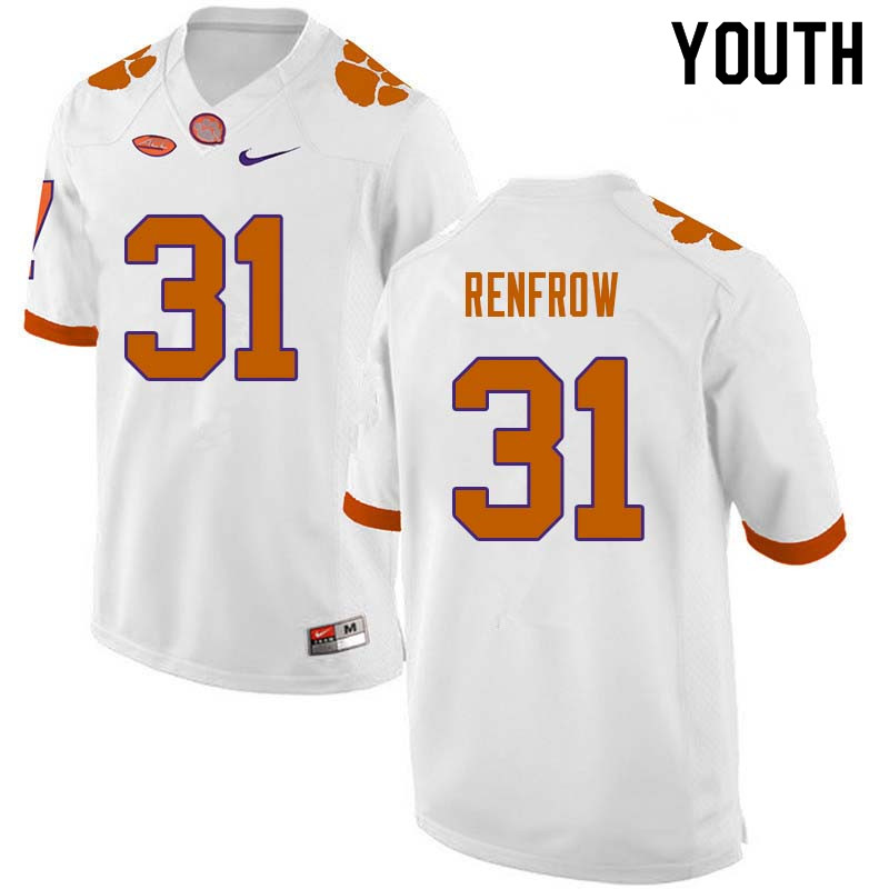 Youth #31 Cole Renfrow Clemson Tigers College Football Jerseys Sale-White