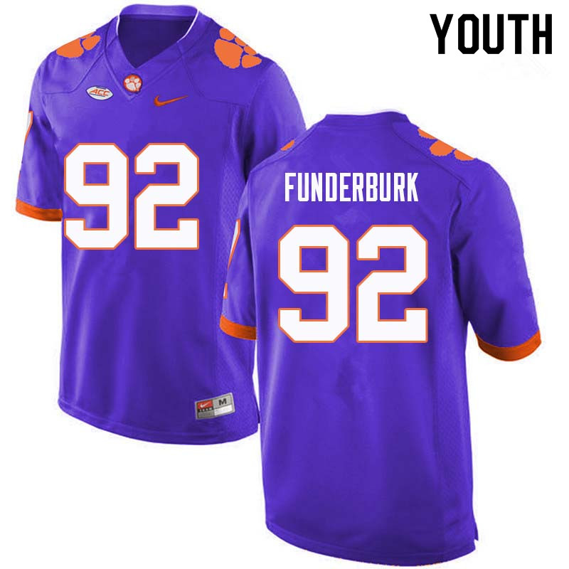 Youth #92 Daniel Funderburk Clemson Tigers College Football Jerseys Sale-Purple