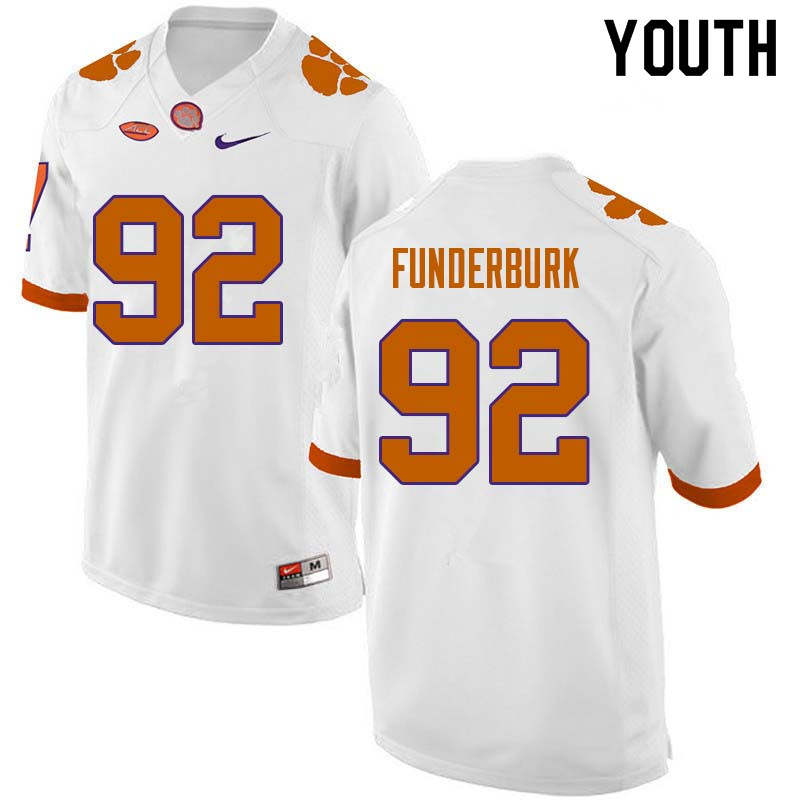Youth #92 Daniel Funderburk Clemson Tigers College Football Jerseys Sale-White