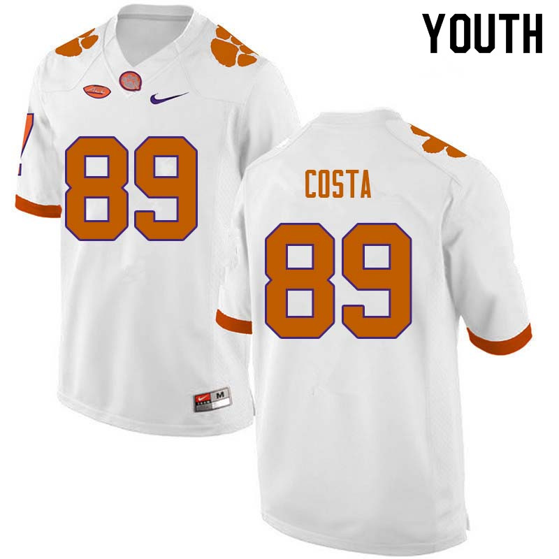 Youth #89 Drew Costa Clemson Tigers College Football Jerseys Sale-White