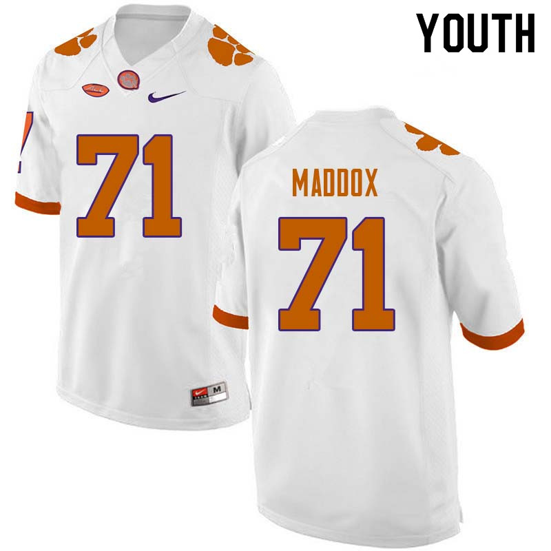 Youth #71 Jack Maddox Clemson Tigers College Football Jerseys Sale-White