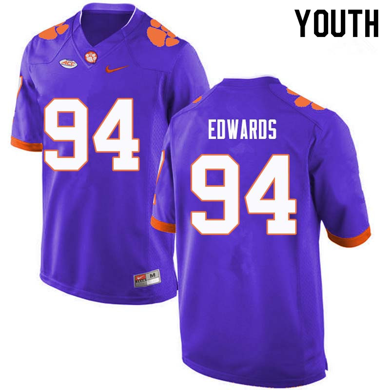 Youth #94 Jacob Edwards Clemson Tigers College Football Jerseys Sale-Purple