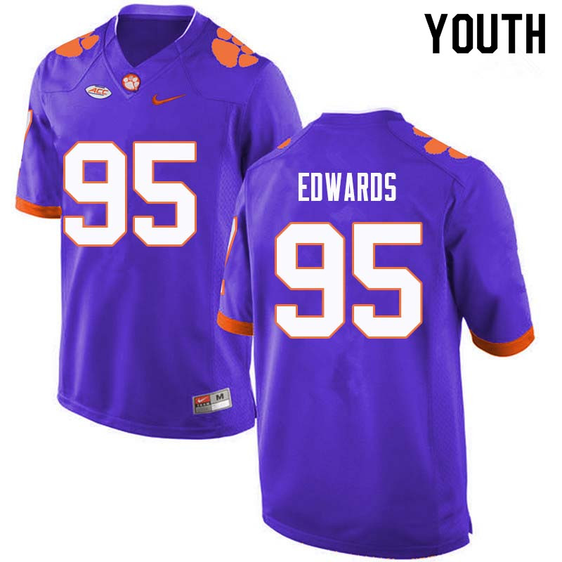 Youth #95 James Edwards Clemson Tigers College Football Jerseys Sale-Purple