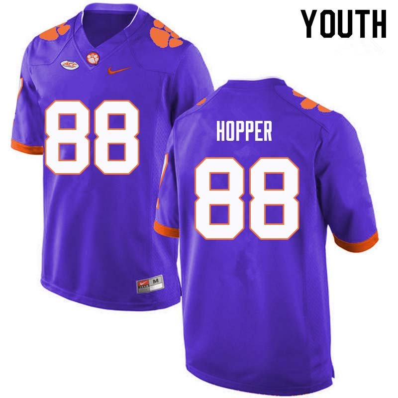 Youth #88 Jayson Hopper Clemson Tigers College Football Jerseys Sale-Purple