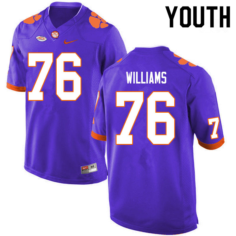Youth #76 John Williams Clemson Tigers College Football Jerseys Sale-Purple