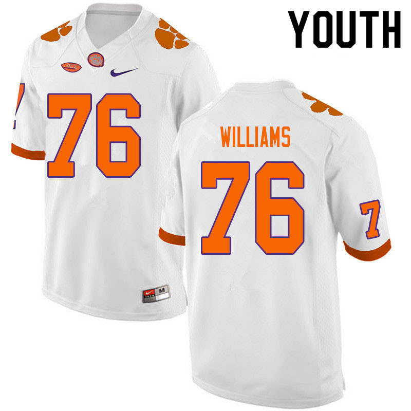 Youth #76 John Williams Clemson Tigers College Football Jerseys Sale-White