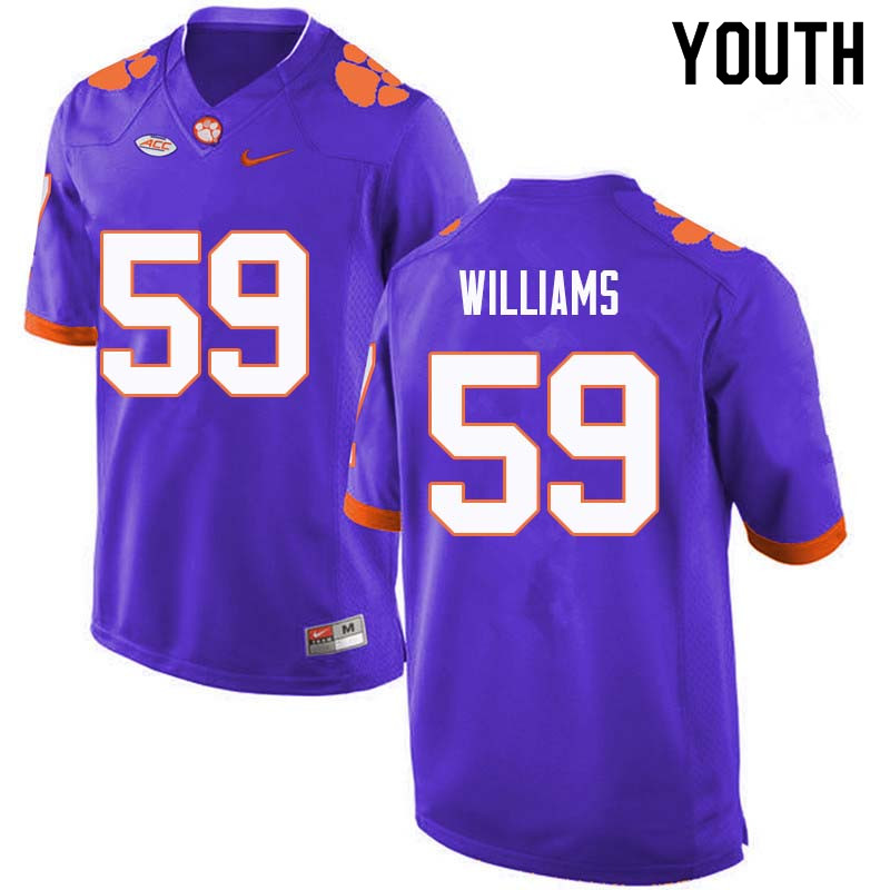 Youth #59 Jordan Williams Clemson Tigers College Football Jerseys Sale-Purple