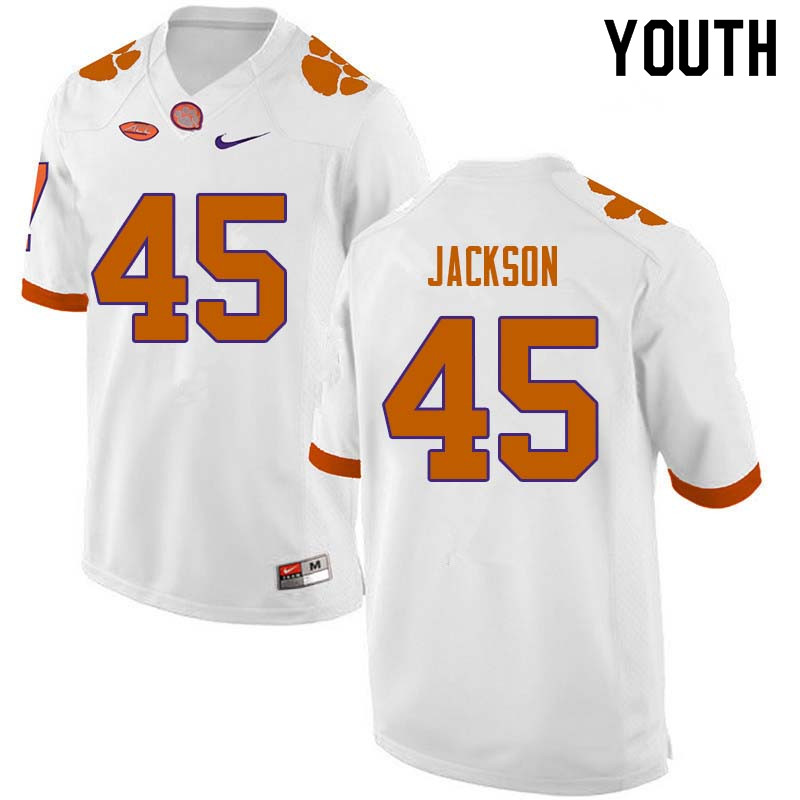 Youth #45 Josh Jackson Clemson Tigers College Football Jerseys Sale-White