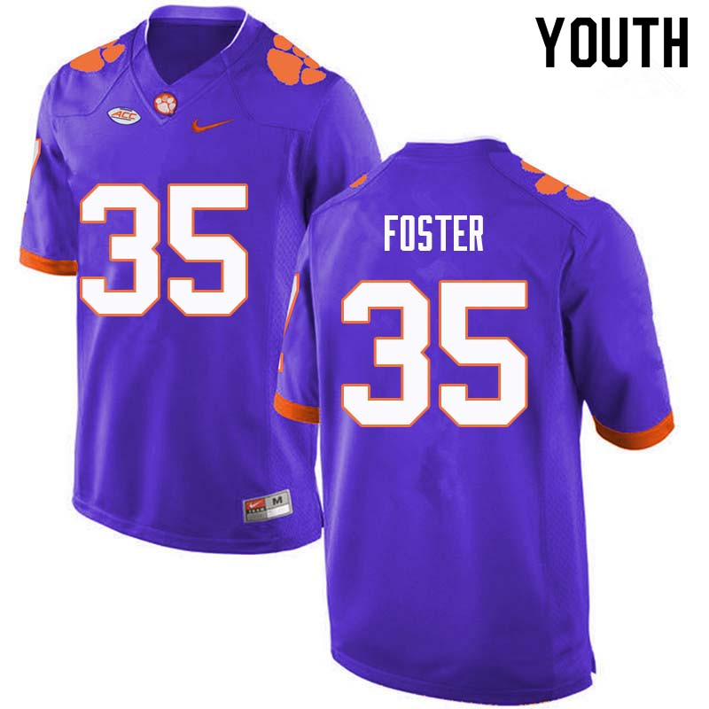Youth #35 Justin Foster Clemson Tigers College Football Jerseys Sale-Purple