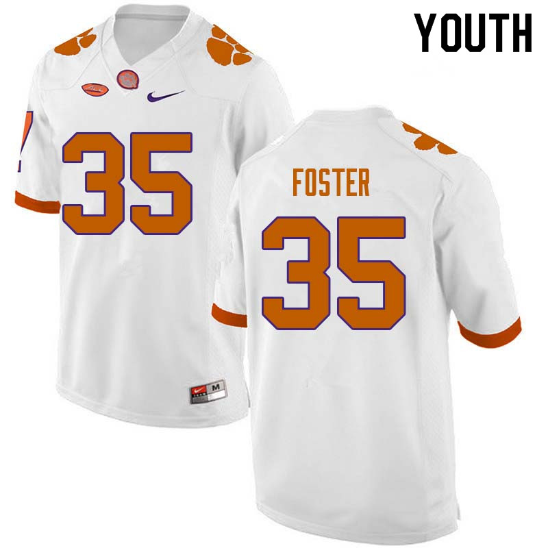Youth #35 Justin Foster Clemson Tigers College Football Jerseys Sale-White