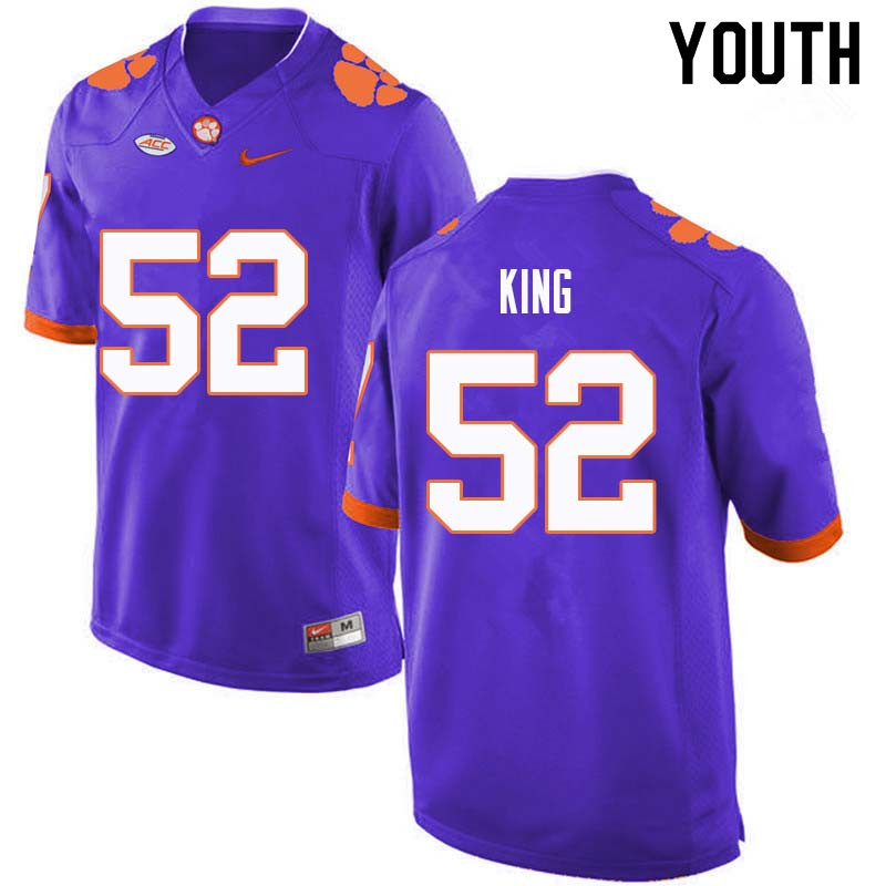Youth #52 Matthew King Clemson Tigers College Football Jerseys Sale-Purple