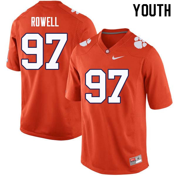 Youth #97 Nick Rowell Clemson Tigers College Football Jerseys Sale-Orange