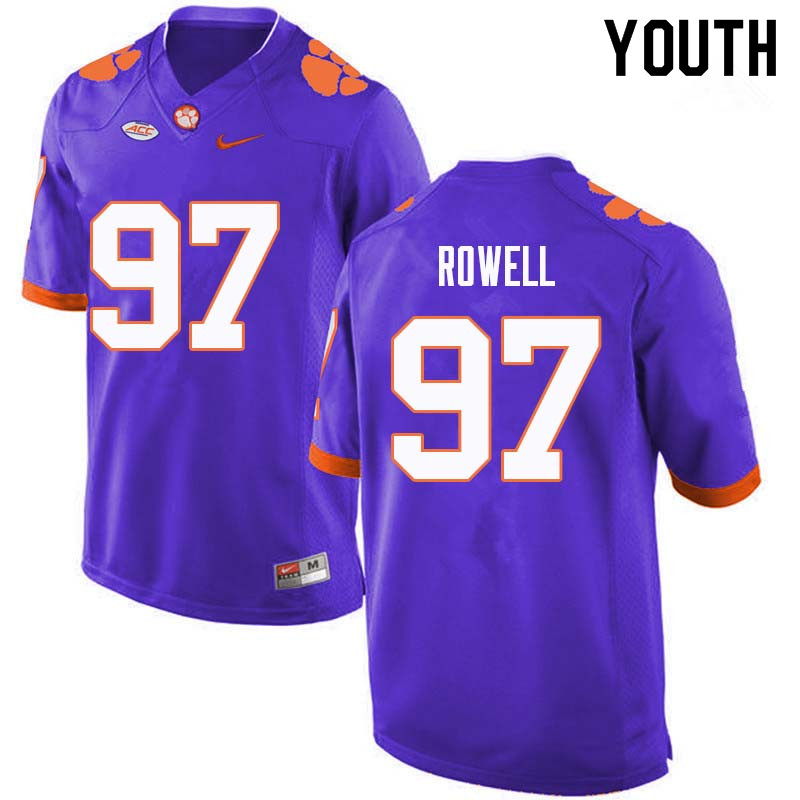 Youth #97 Nick Rowell Clemson Tigers College Football Jerseys Sale-Purple