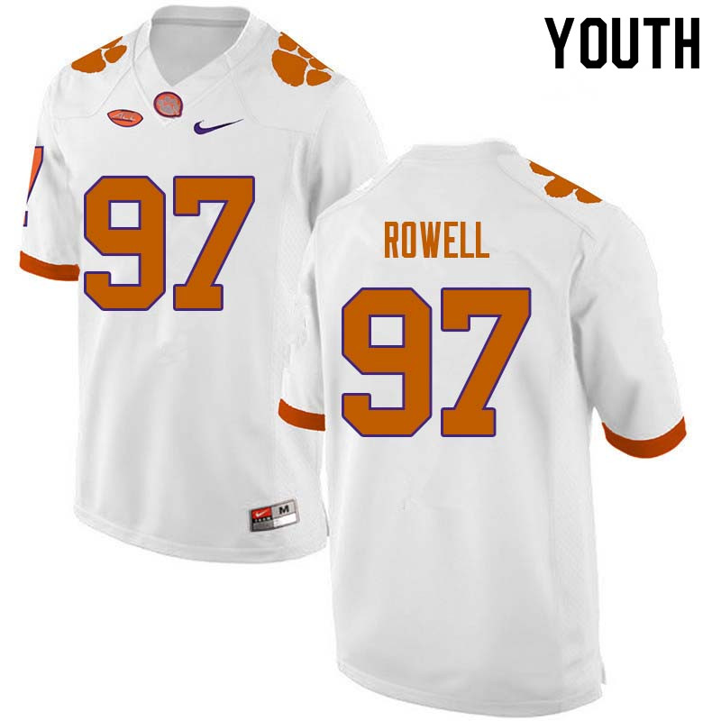 Youth #97 Nick Rowell Clemson Tigers College Football Jerseys Sale-White