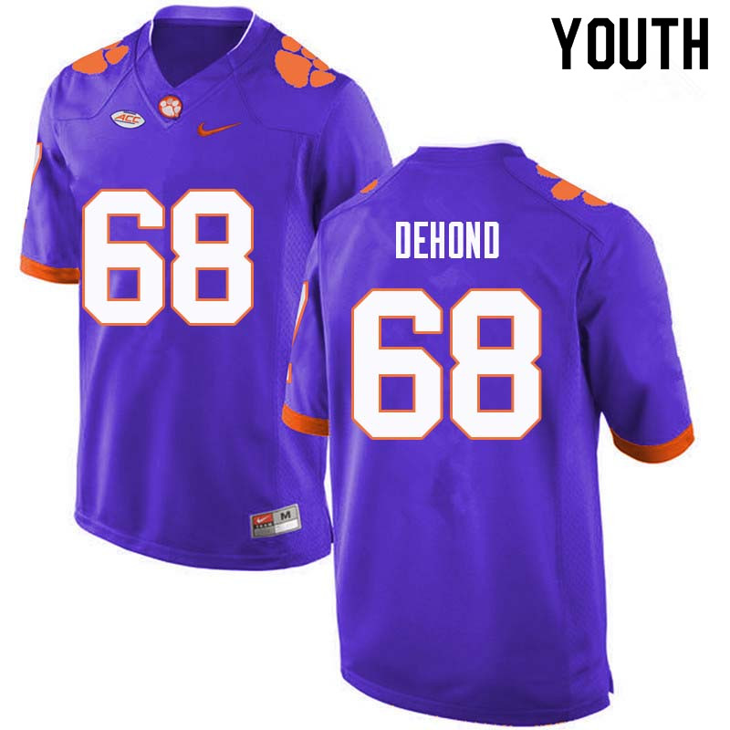 Youth #68 Noah DeHond Clemson Tigers College Football Jerseys Sale-Purple