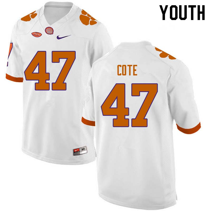 Youth #47 Peter Cote Clemson Tigers College Football Jerseys Sale-White