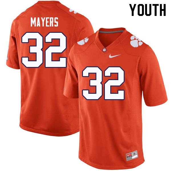 Youth #32 Sylvester Mayers Clemson Tigers College Football Jerseys Sale-Orange