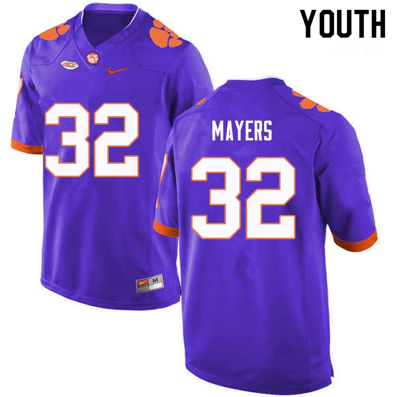 Youth #32 Sylvester Mayers Clemson Tigers College Football Jerseys Sale-Purple