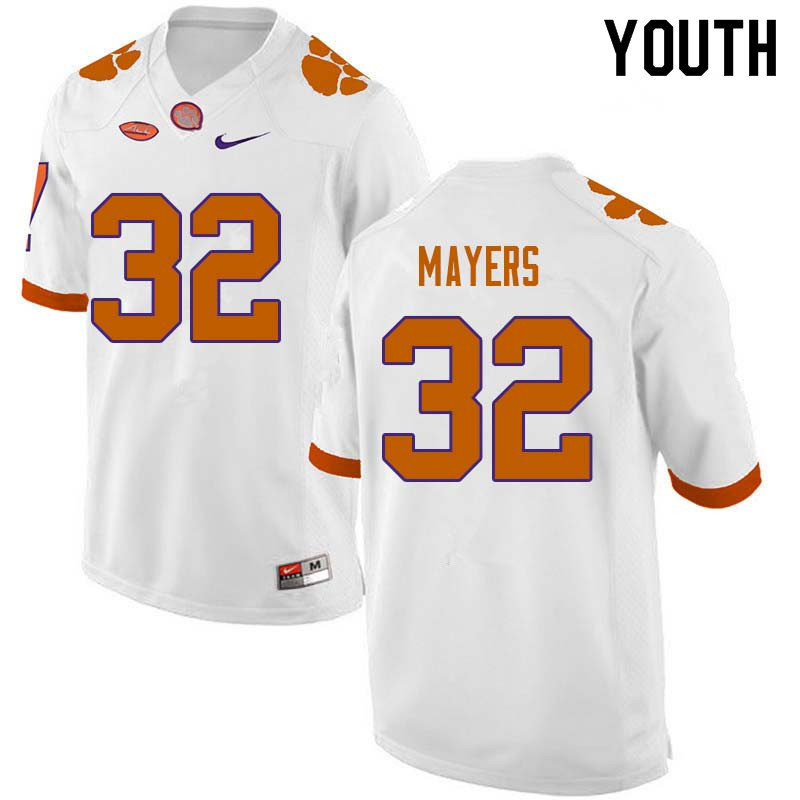 Youth #32 Sylvester Mayers Clemson Tigers College Football Jerseys Sale-White