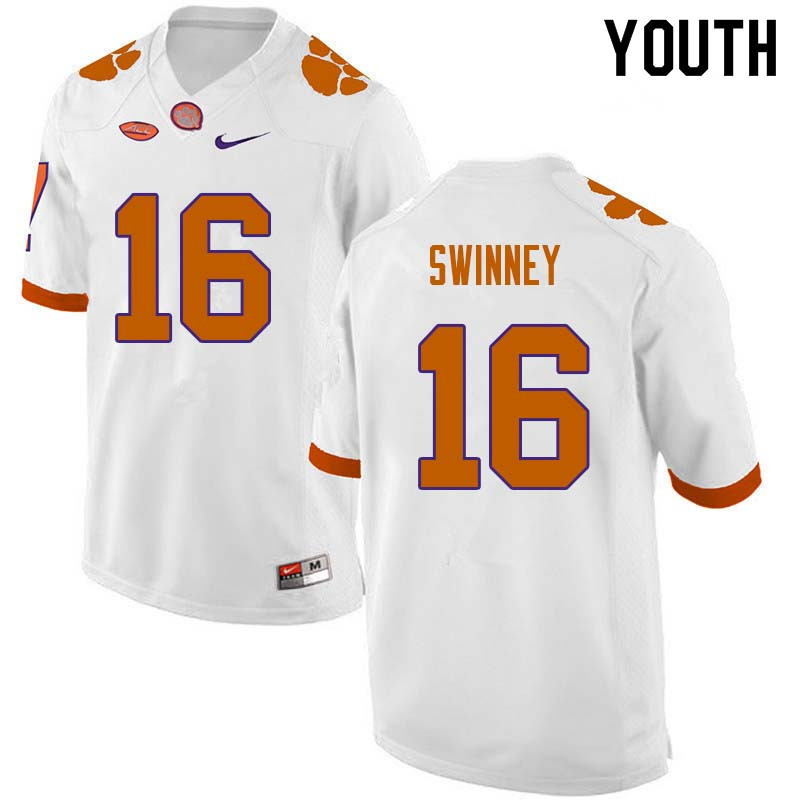 Youth #16 Will Swinney Clemson Tigers College Football Jerseys Sale-White