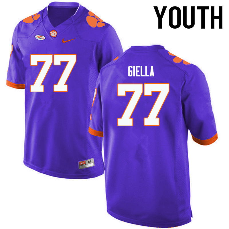 Youth Clemson Tigers #77 Zach Giella College Football Jerseys-Purple