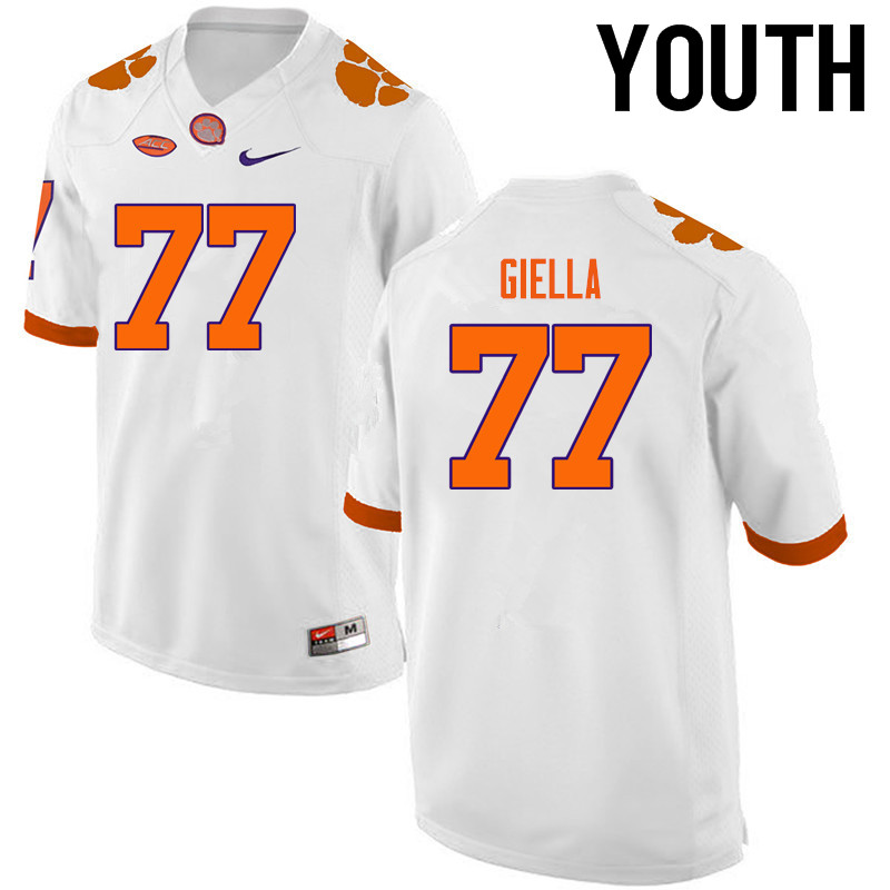 Youth Clemson Tigers #77 Zach Giella College Football Jerseys-White
