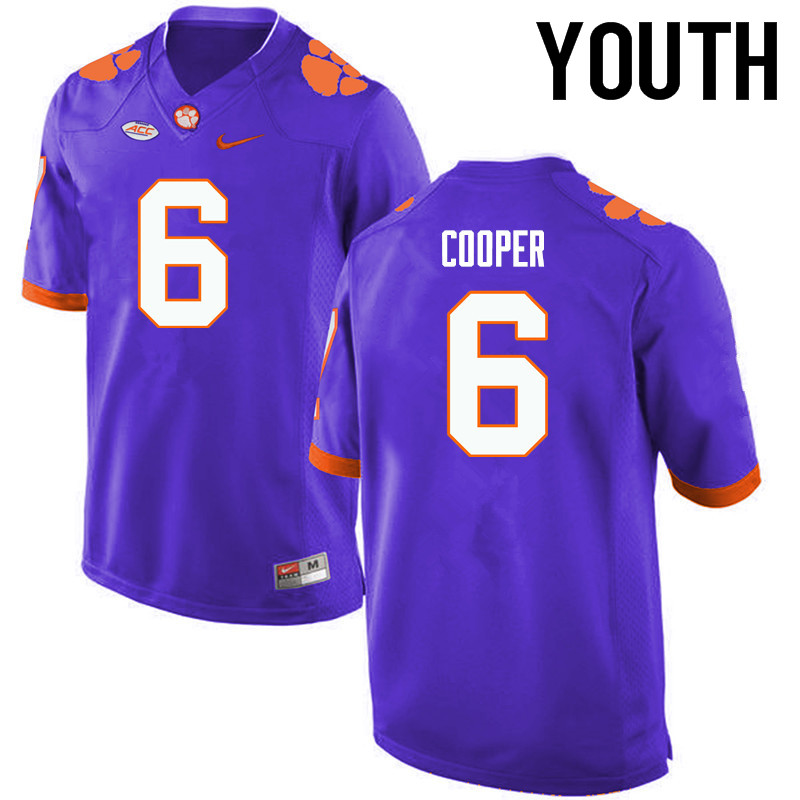 Youth Clemson Tigers #6 Zerrick Cooper College Football Jerseys-Purple