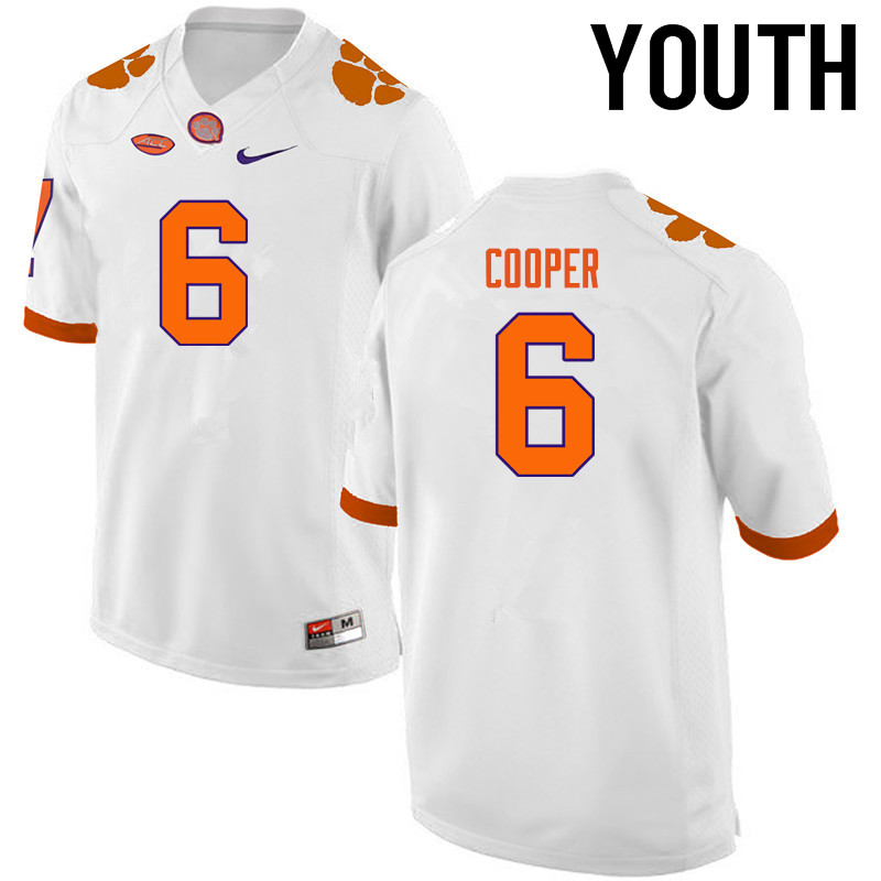Youth Clemson Tigers #6 Zerrick Cooper College Football Jerseys-White